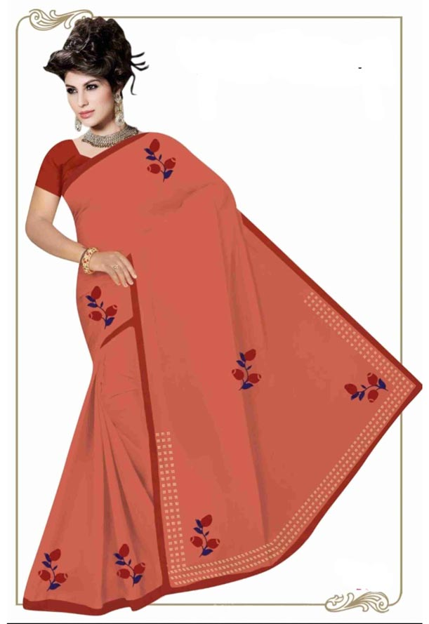 WOMEN SYNTHETIC SATIN SAREE WITH BLOUSE-DARK PEACH-DF GOODLUCK 2019
