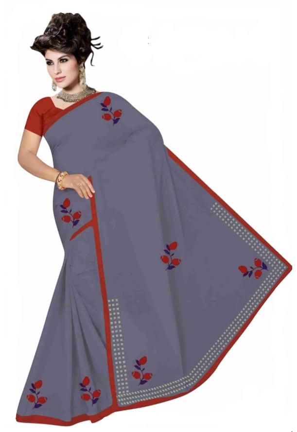 WOMEN SYNTHETIC SATIN SAREE WITH BLOUSE-GRAY-DF GOODLUCK 2019