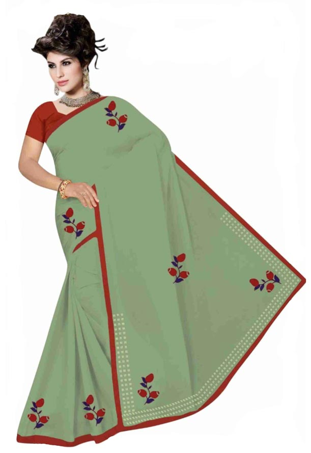 WOMEN SYNTHETIC SATIN SAREE WITH BLOUSE-GREEN-DF GOODLUCK 2019