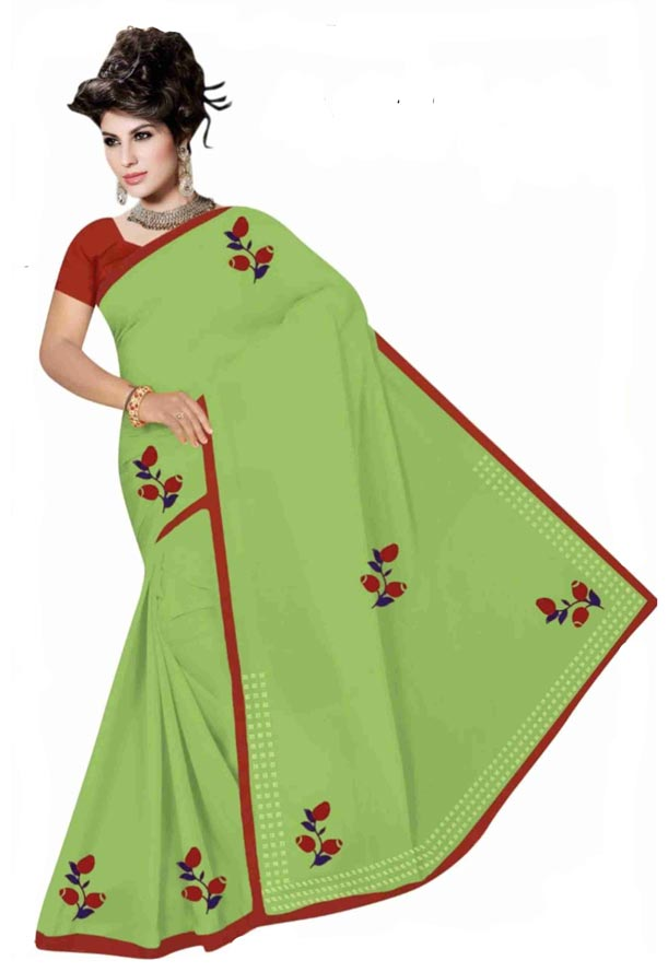 WOMEN SYNTHETIC SATIN SAREE WITH BLOUSE-PARROT GREEN-DF GOODLUCK 2019