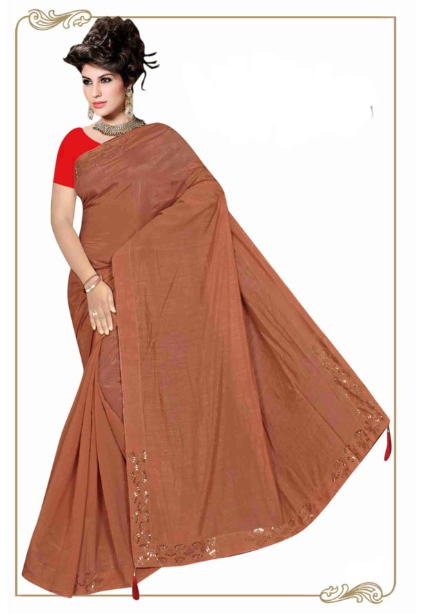 WOMEN SYNTHETIC SATIN SAREE WITH BLOUSE-BROWN-DF LASKARA 2019