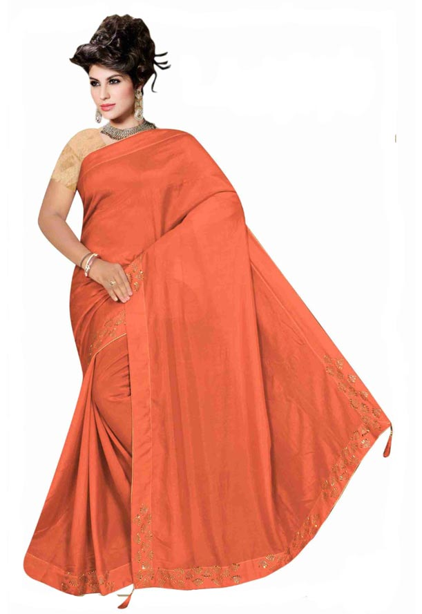 WOMEN SYNTHETIC SATIN SAREE WITH BLOUSE-DARK PEACH-DF LASKARA 2019