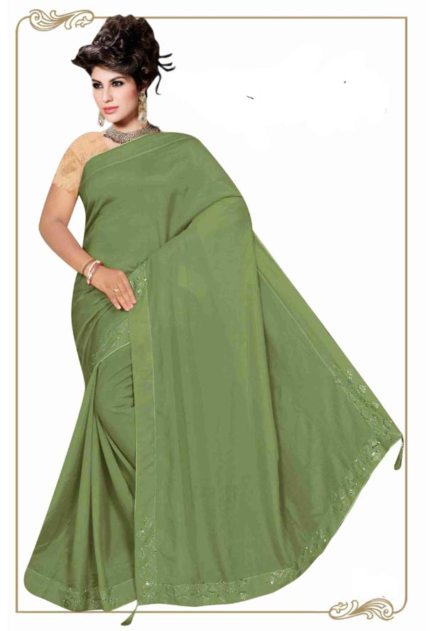 WOMEN SYNTHETIC SATIN SAREE WITH BLOUSE-GREEN-DF LASKARA 2019
