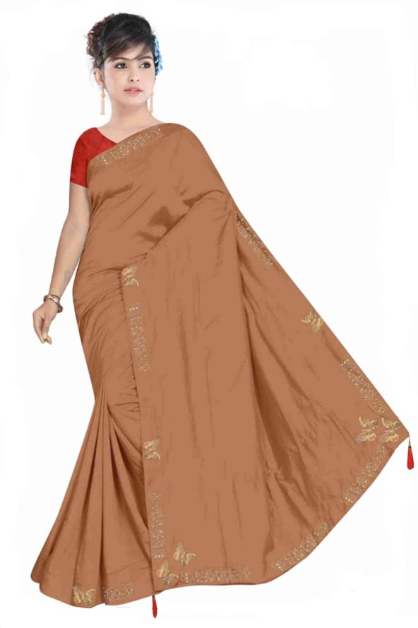 WOMEN SYNTHETIC SATIN SAREE WITH BLOUSE-BROWN-DF TITLI 2019