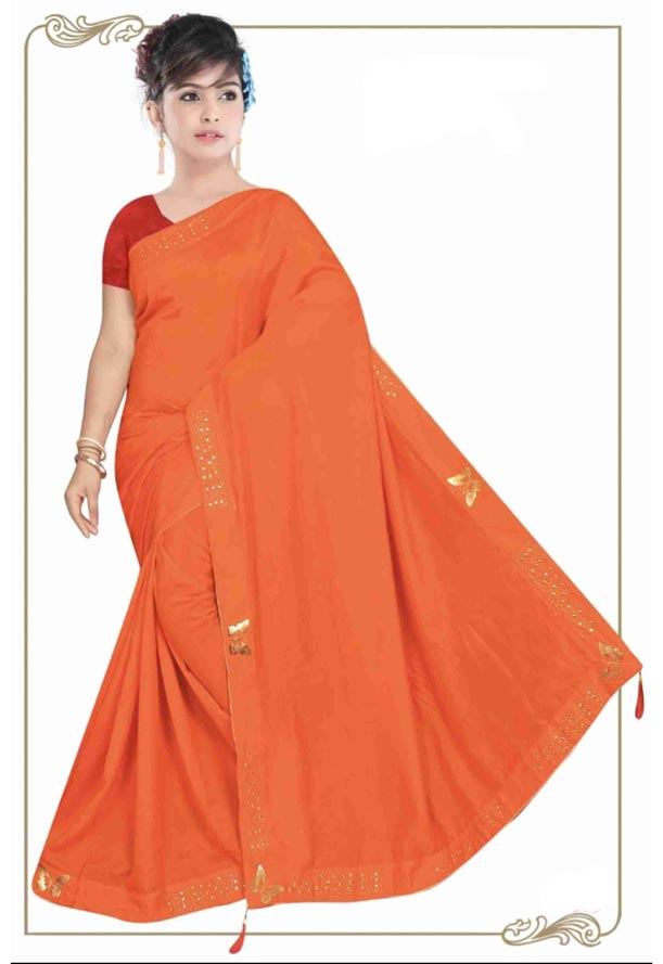 WOMEN SYNTHETIC SATIN SAREE WITH BLOUSE-DARK PEACH-DF TITLI 2019