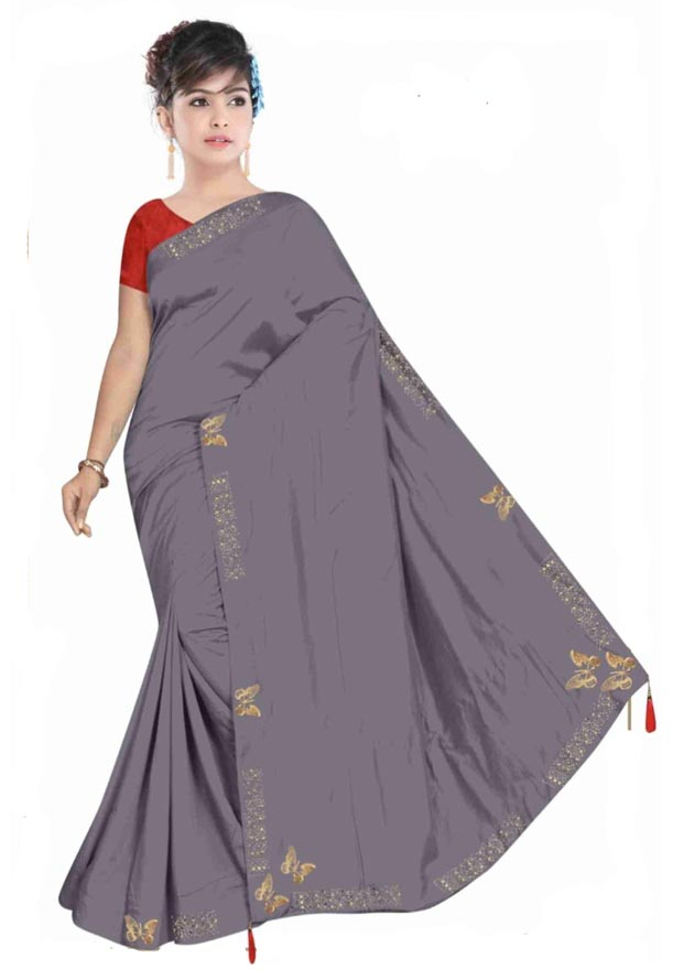 WOMEN SYNTHETIC SATIN SAREE WITH BLOUSE-GRAY-DF TITLI 2019