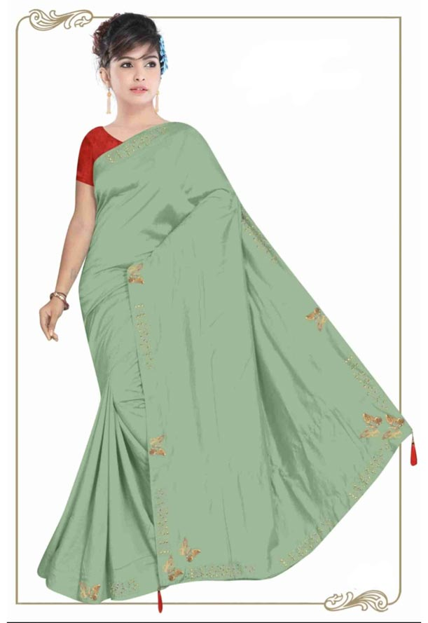 WOMEN SYNTHETIC SATIN SAREE WITH BLOUSE-GREEN-DF TITLI 2019