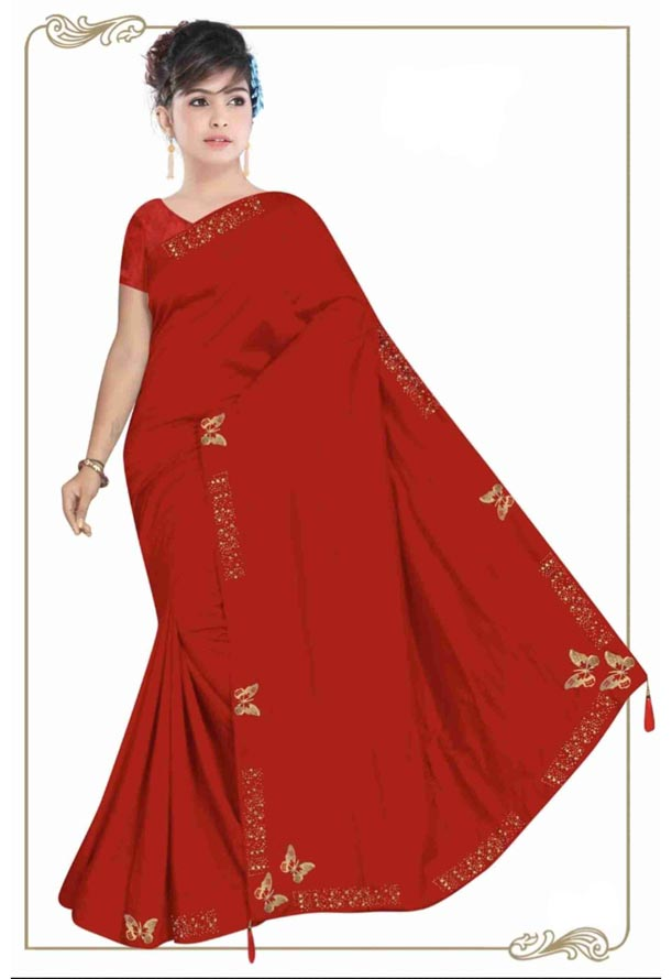 WOMEN SYNTHETIC SATIN SAREE WITH BLOUSE-RED-DF TITLI 2019