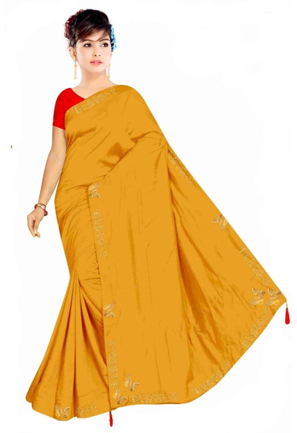 WOMEN SYNTHETIC SATIN SAREE WITH BLOUSE-YELLOW-DF TITLI 2019