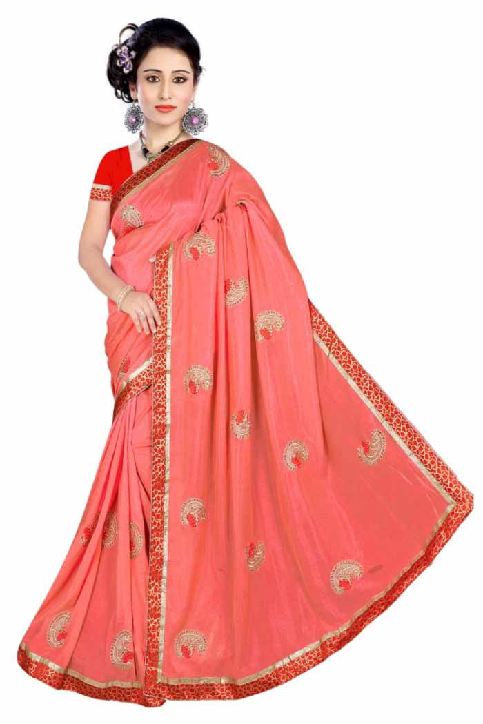 WOMEN SAREE WITH BLOUSE-CARROT-DF DOLPHINE 01