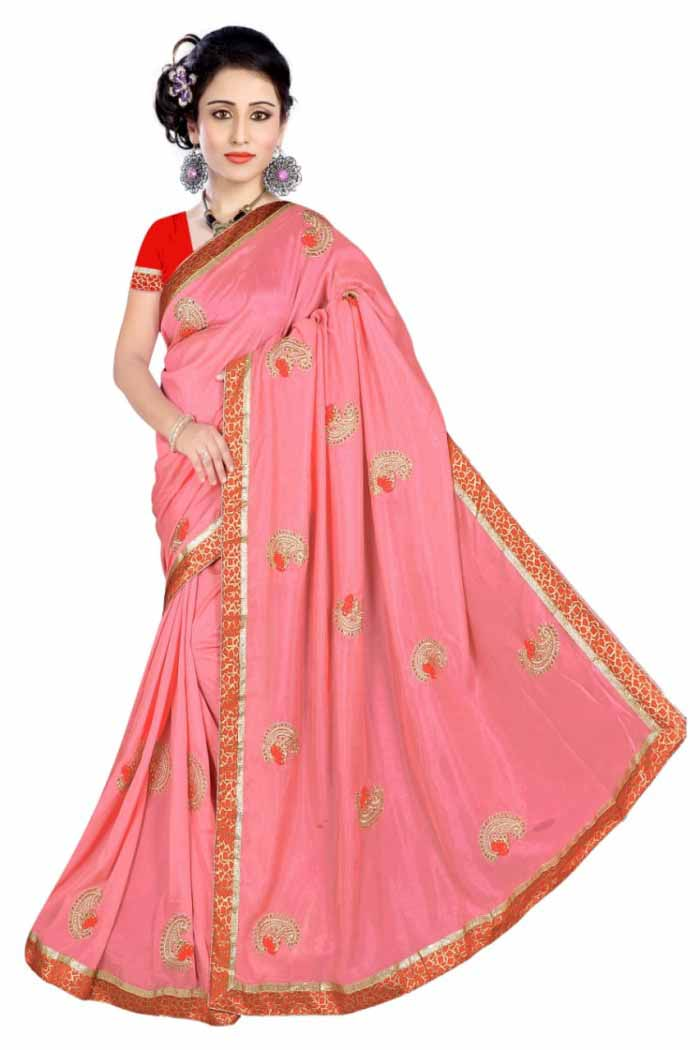 WOMEN SAREE WITH BLOUSE-LIGHT PINK-DF DOLPHINE 01