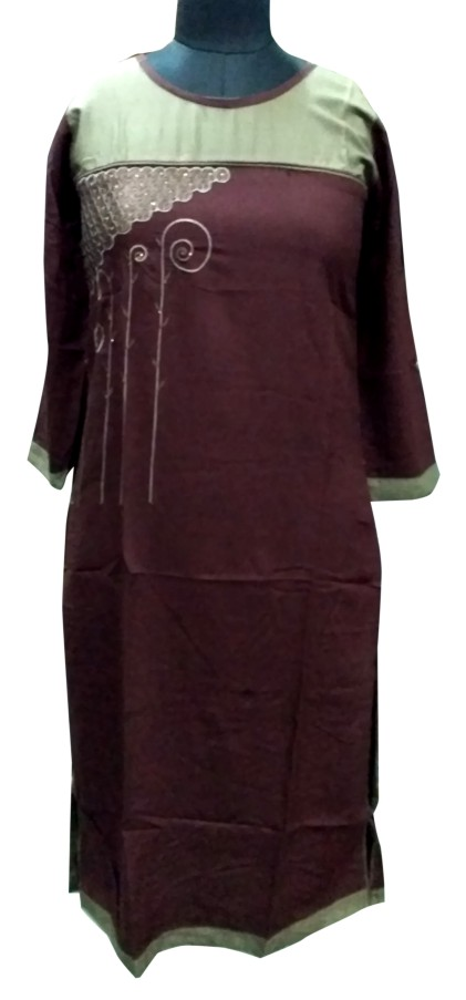 DT OPTIMA - Coffee Gray Rayon Kurti