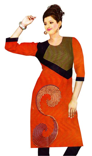 DT SPARROW - Red Stitched Kurti