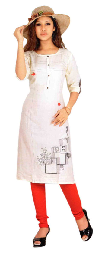 SC DULHAN-D NO 10 STYLISH COTTON LINEN KURTI