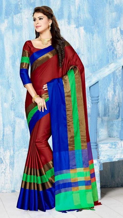 WOMEN SAREE WITH BLOUSE-RED-BM MAY DANGAL