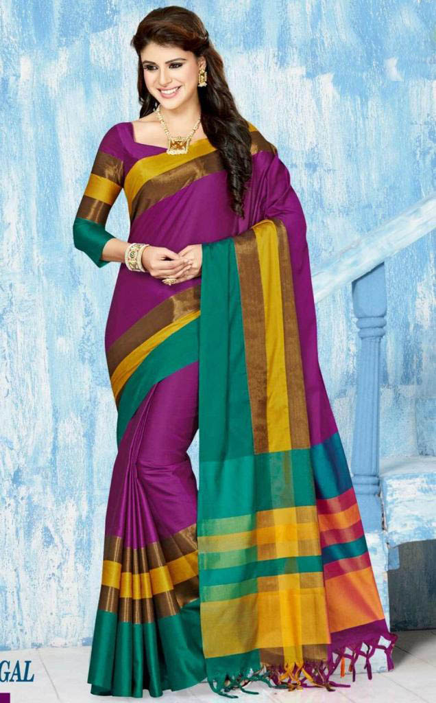 WOMEN SAREE WITH BLOUSE-PURPLE-BM MAY DANGAL