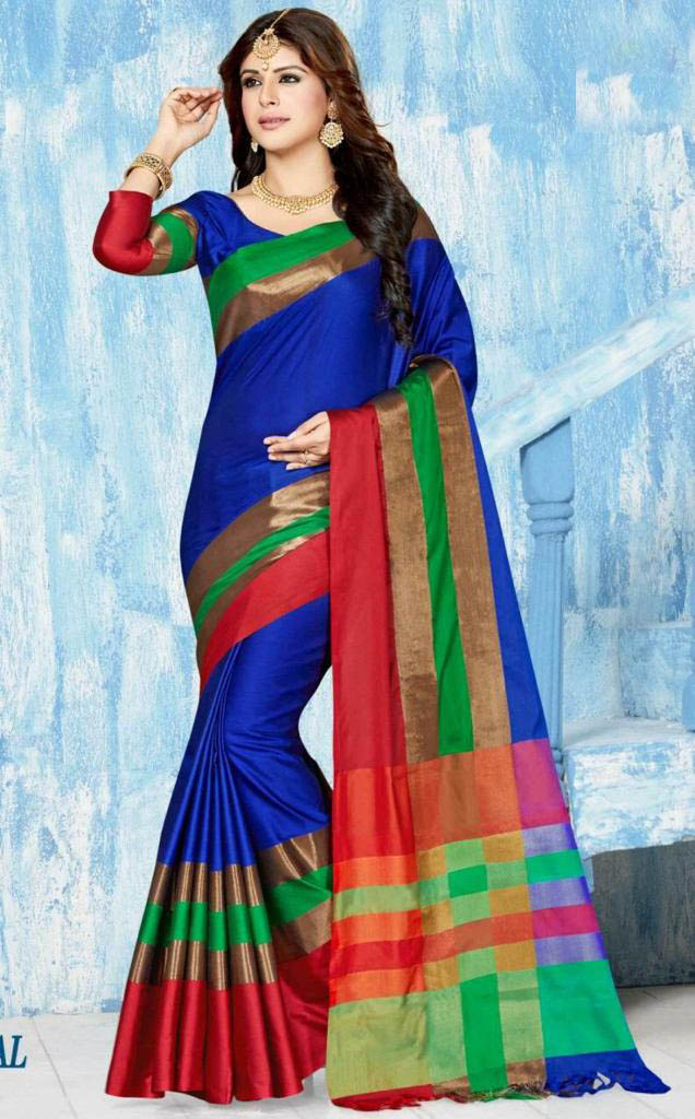 WOMEN SAREE WITH BLOUSE-BLUE-BM MAY DANGAL