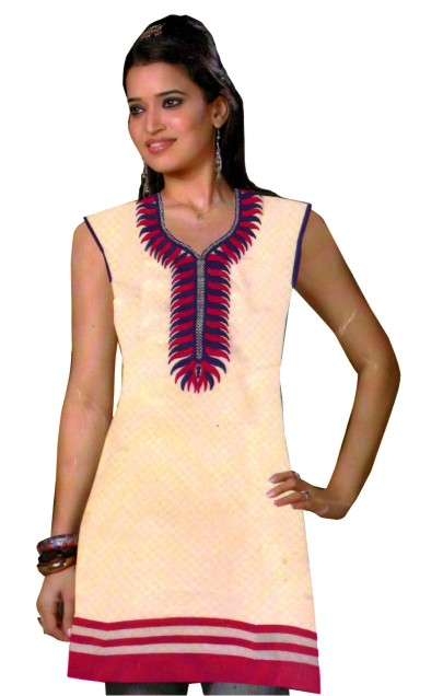ECCHA 10603 - Cream/ Pink Cotton Stitched Kurti