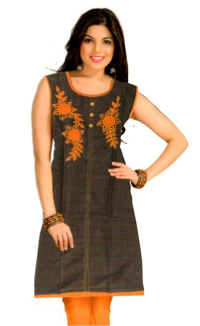 ECCHA 10637 - Black/ Orange Cotton Stitched Kurti