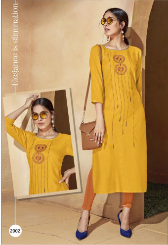 SUF EVOQ 2002-YELLOW WOMEN KURTI