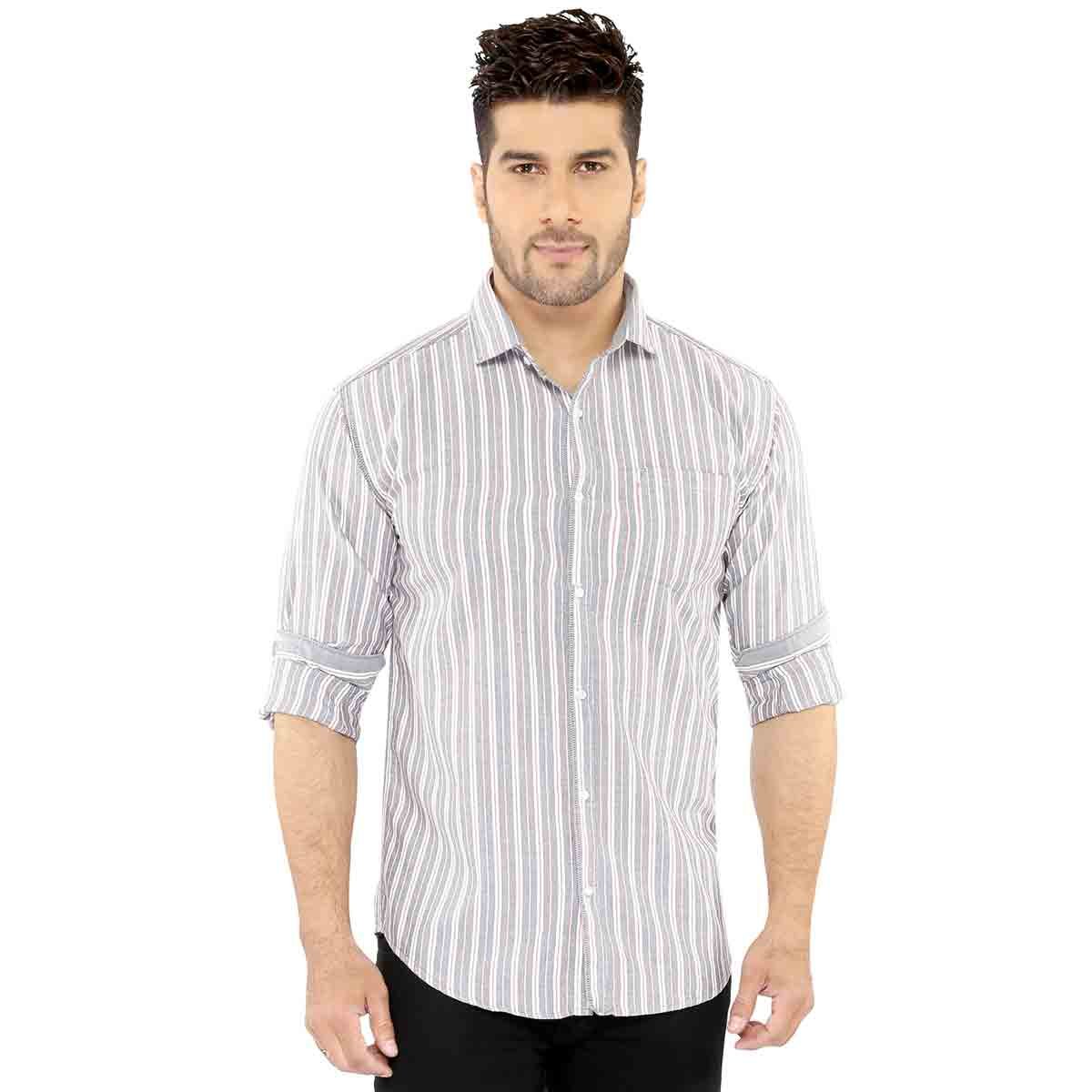 Grey & Pink Stripes Casual Shirt