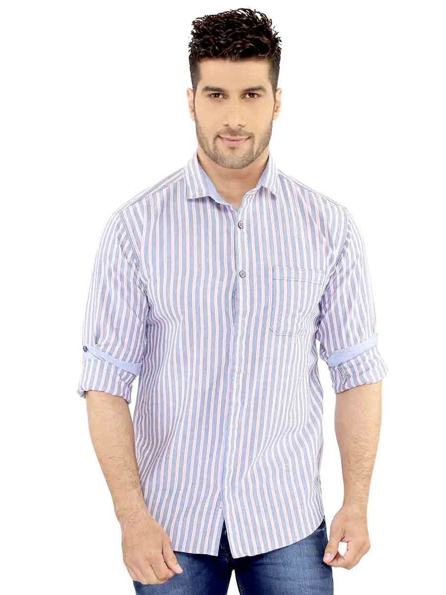Gray/ Pink Stripes Casual Shirt