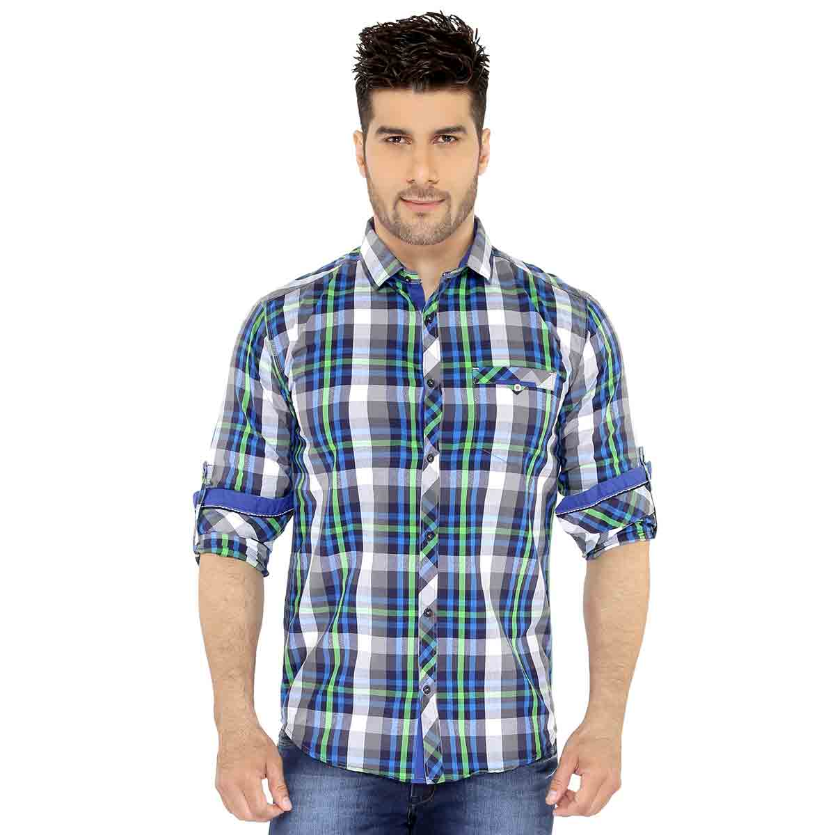 Green & Blue Checks Casual Shirt