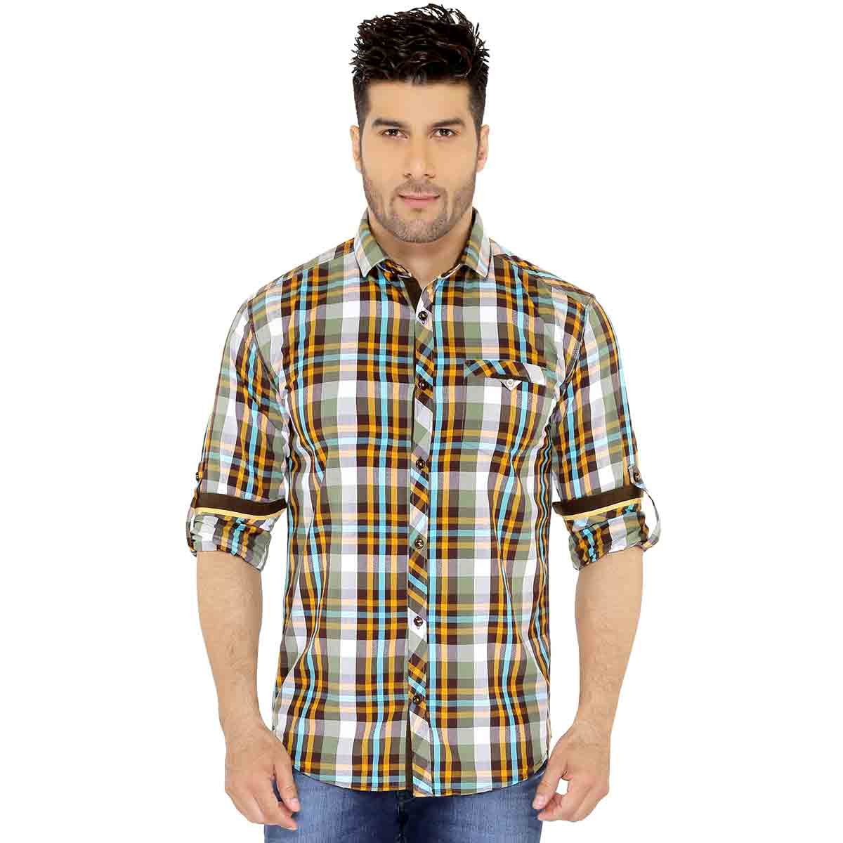 Green & Brown Checks Casual Shirt