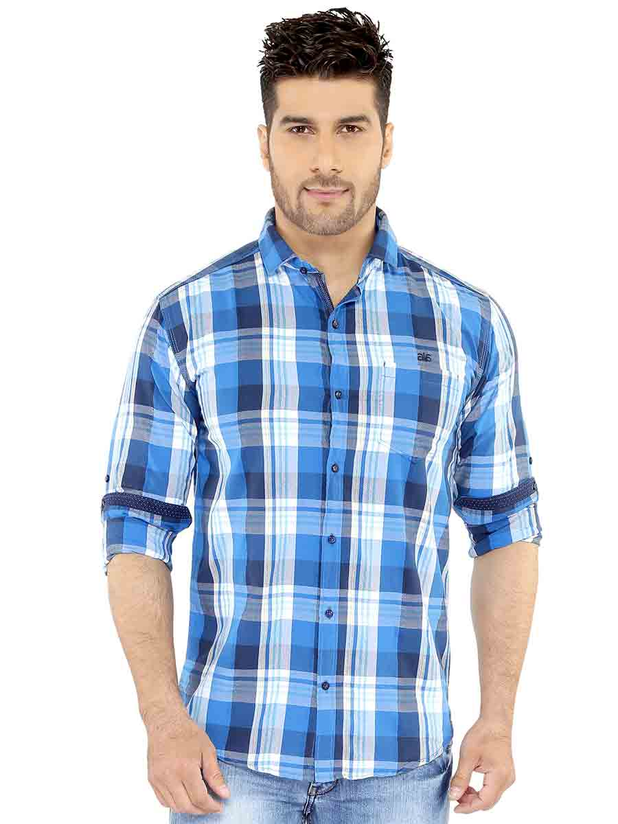 Blue & White Checks Casual Shirt