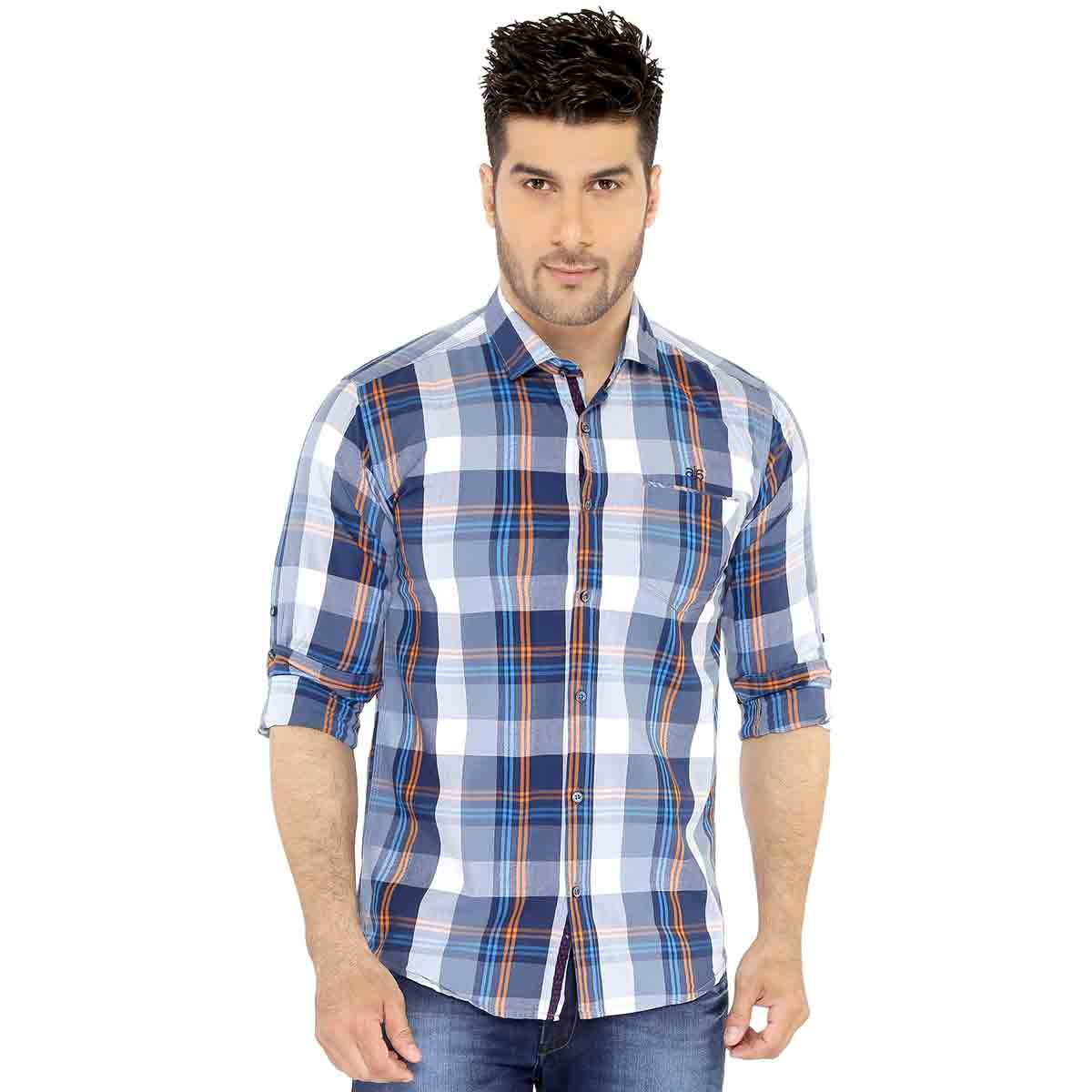 Dark Blue & Grey Checks Casual Shirt