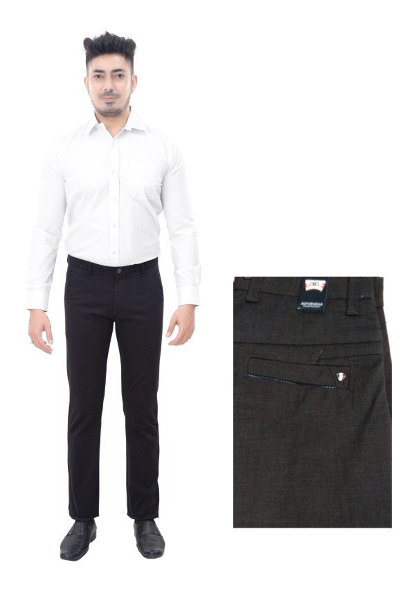 FSPL UTD MIX 3-BLACK DOBBY CASUAL TROUSER