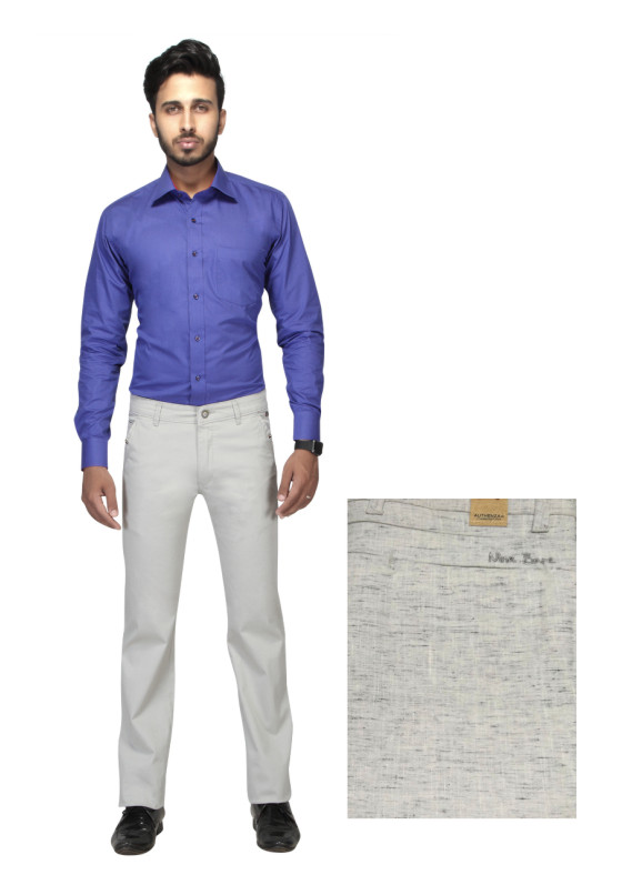 FSPL UTD MIX-WHITE LINEN CASUAL TROUSER