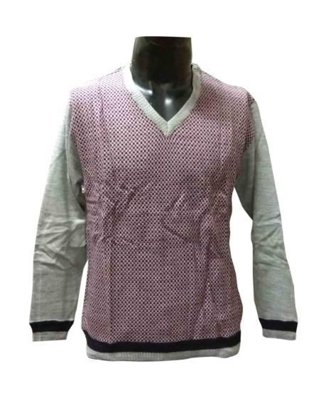 FSPL V NECK - Red Multi Pullover