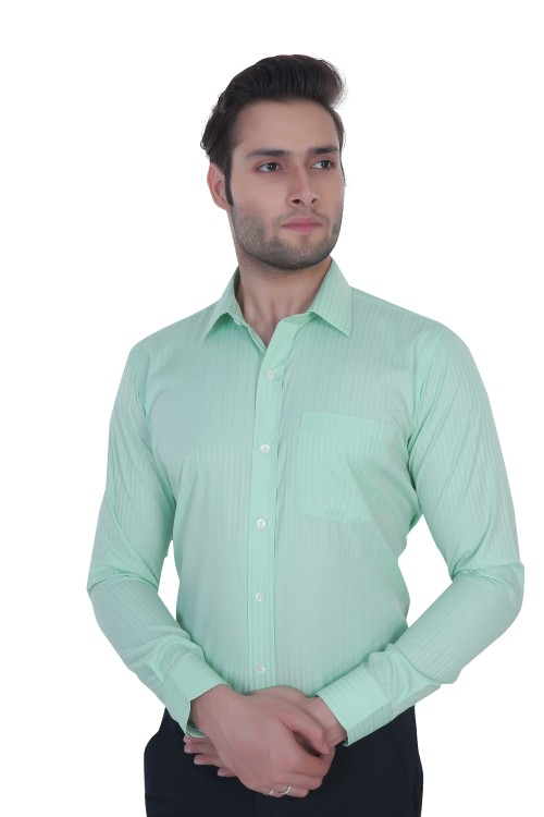 Light Green Stripes Formal Shirt
