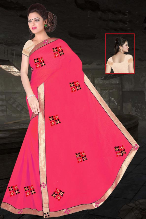 WOMEN SAREE WITH BLOUSE-LIGHT PINK-DF JULY GUNGHAT 01