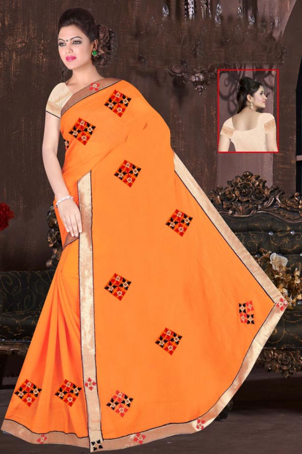 WOMEN SAREE WITH BLOUSE-ORANGE-DF JULY GUNGHAT 01