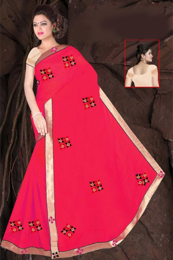 WOMEN SAREE WITH BLOUSE-PINK-DF JULY GUNGHAT 01