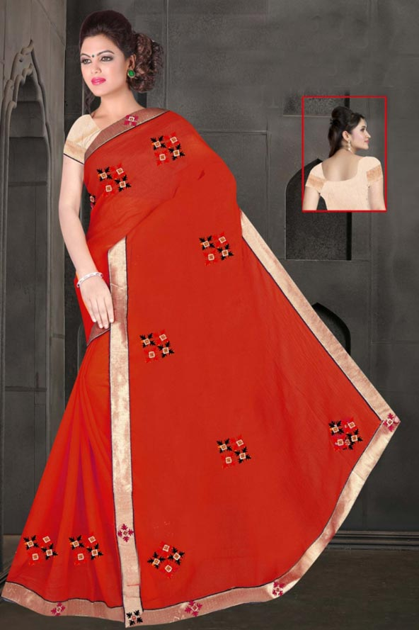 WOMEN SAREE WITH BLOUSE-RED-DF JULY GUNGHAT 01