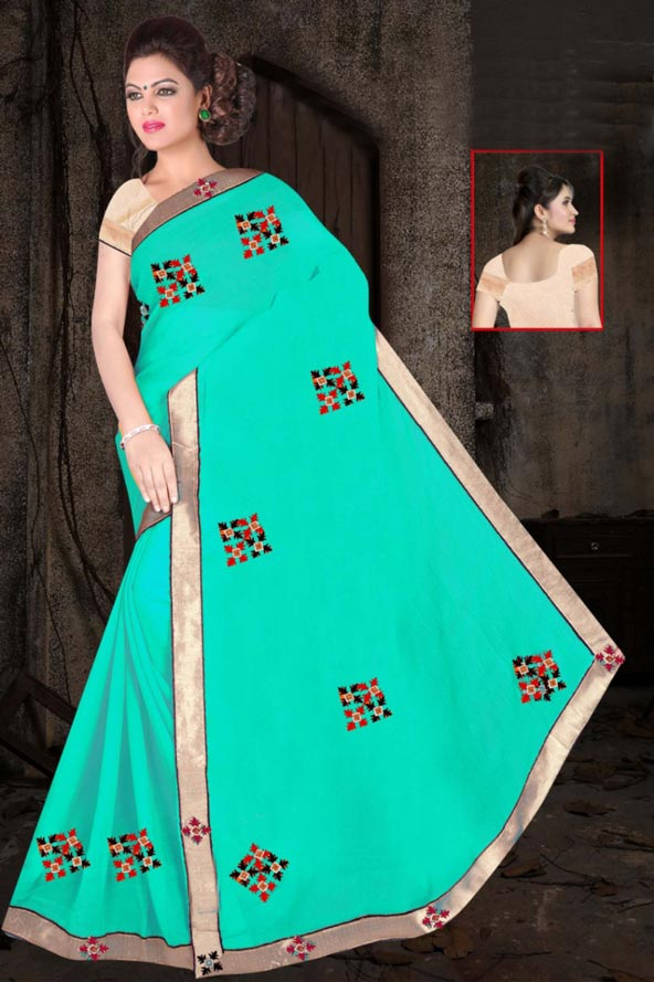 WOMEN SAREE WITH BLOUSE-SEA GREEN-DF JULY GUNGHAT 01