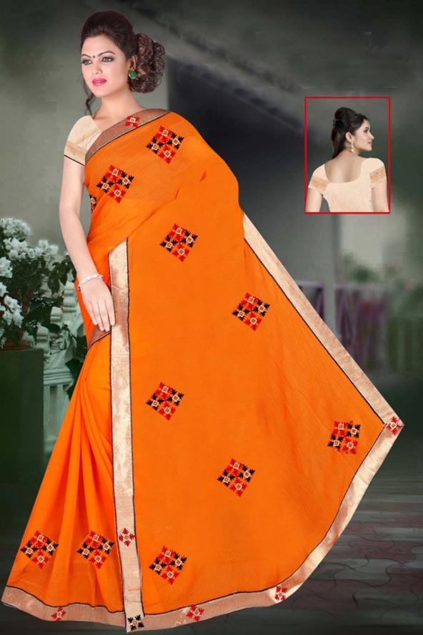 WOMEN SAREE WITH BLOUSE-YELLOW-DF JULY GUNGHAT 01