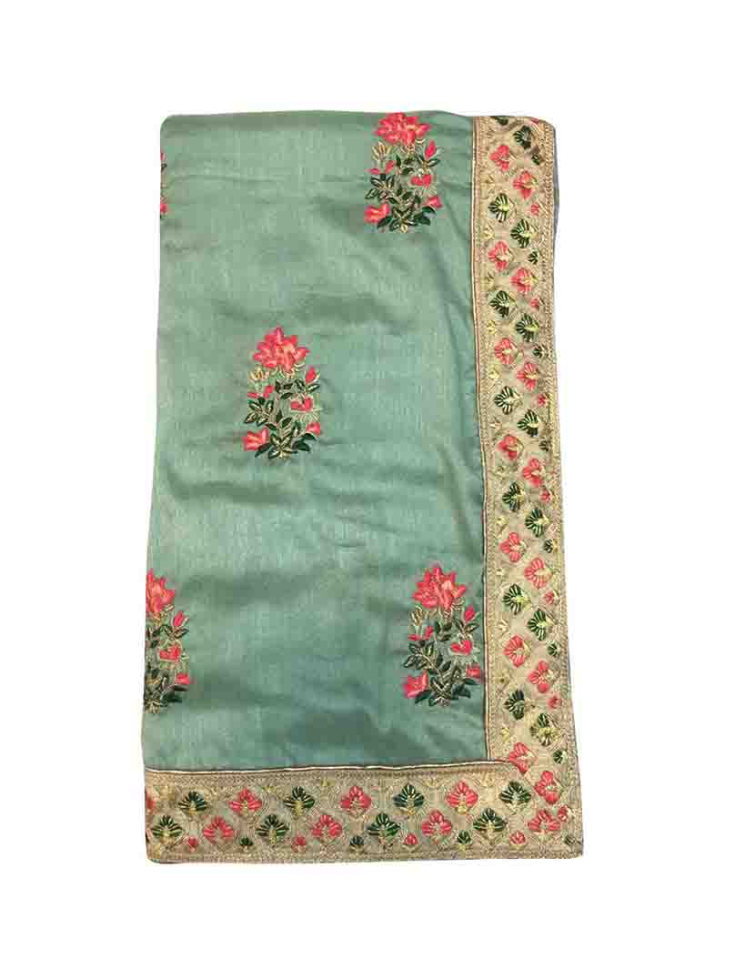 WOMEN SAREE WITH BLOUSE-GREEN-DF GLOBAL