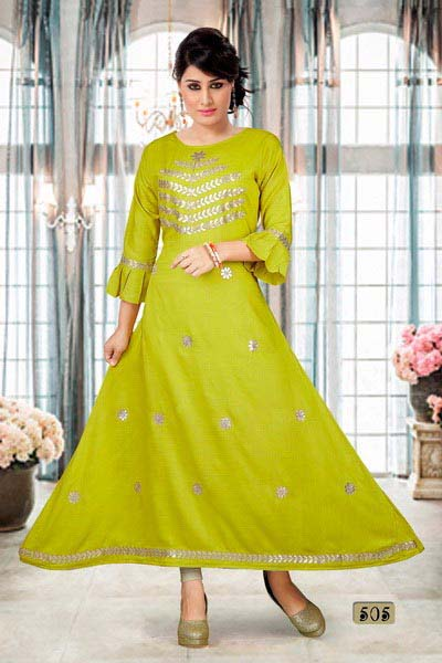 SUF GOTA PATTI BELL -GREEN WOMEN KURTI