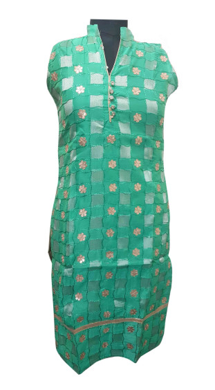 SUF GOTTA PATTI 16-GREEN COTTON GOTTA PATTI KURTI