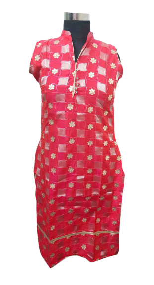 SUF GOTTA PATTI 16-PINK COTTON GOTTA PATTI KURTI