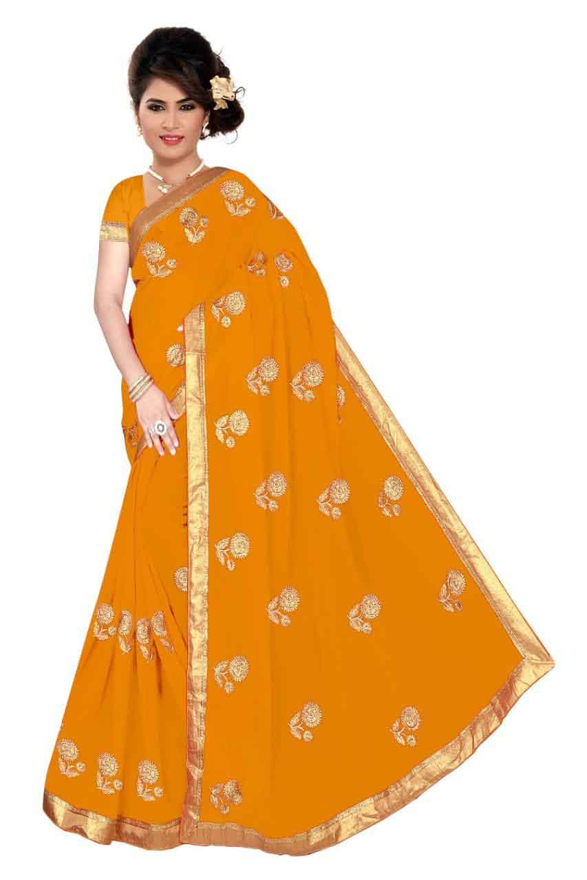 WOMEN SAREE WITH BLOUSE-YELLOW-DF GST 01