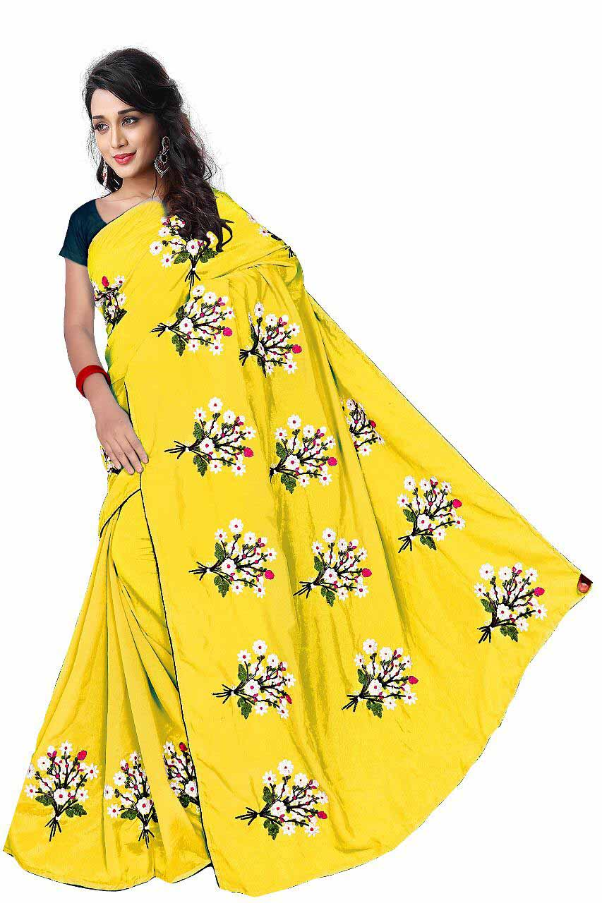 WOMEN SAREE WITH BLOUSE-YELLOW-DF GULDASTA 2019
