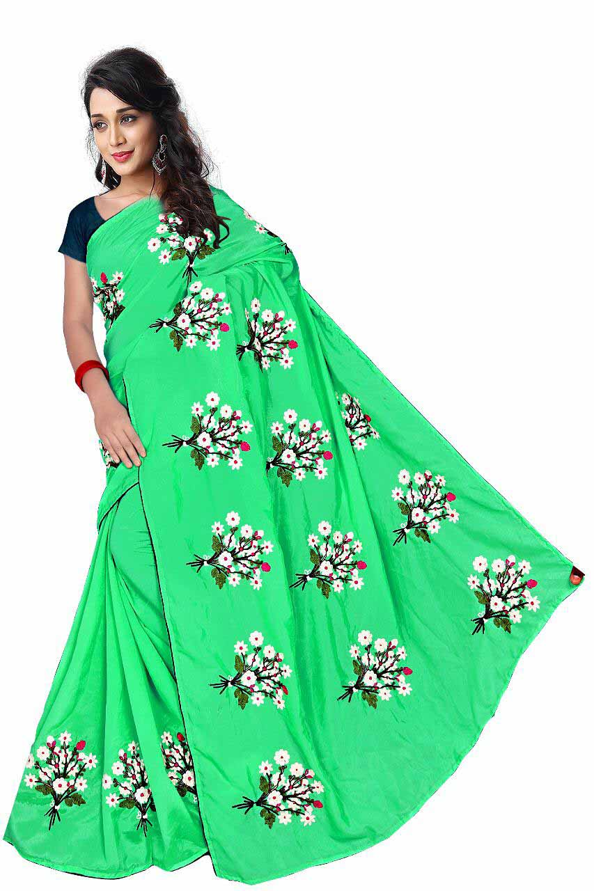 WOMEN SAREE WITH BLOUSE-PARROT GREEN-DF GULDASTA 2019