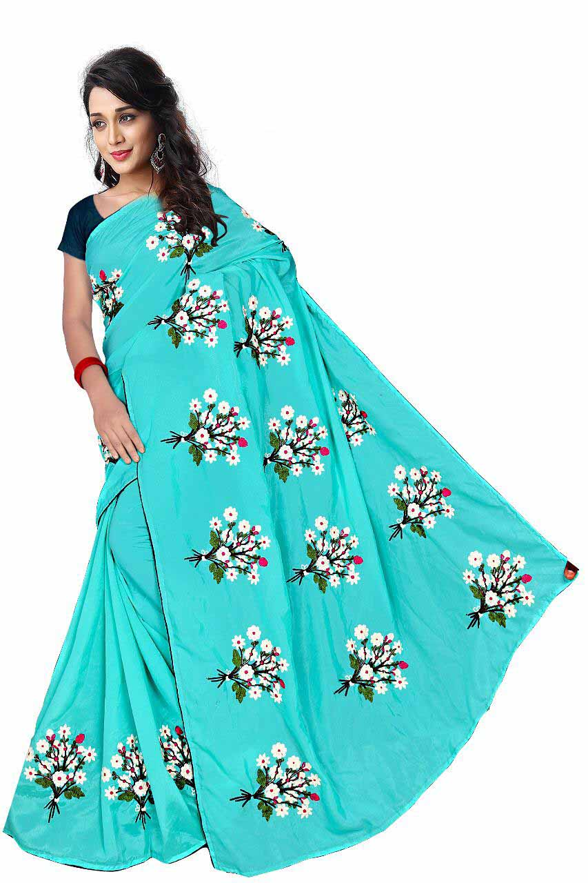 WOMEN SAREE WITH BLOUSE-SEA GREEN-DF GULDASTA 2019