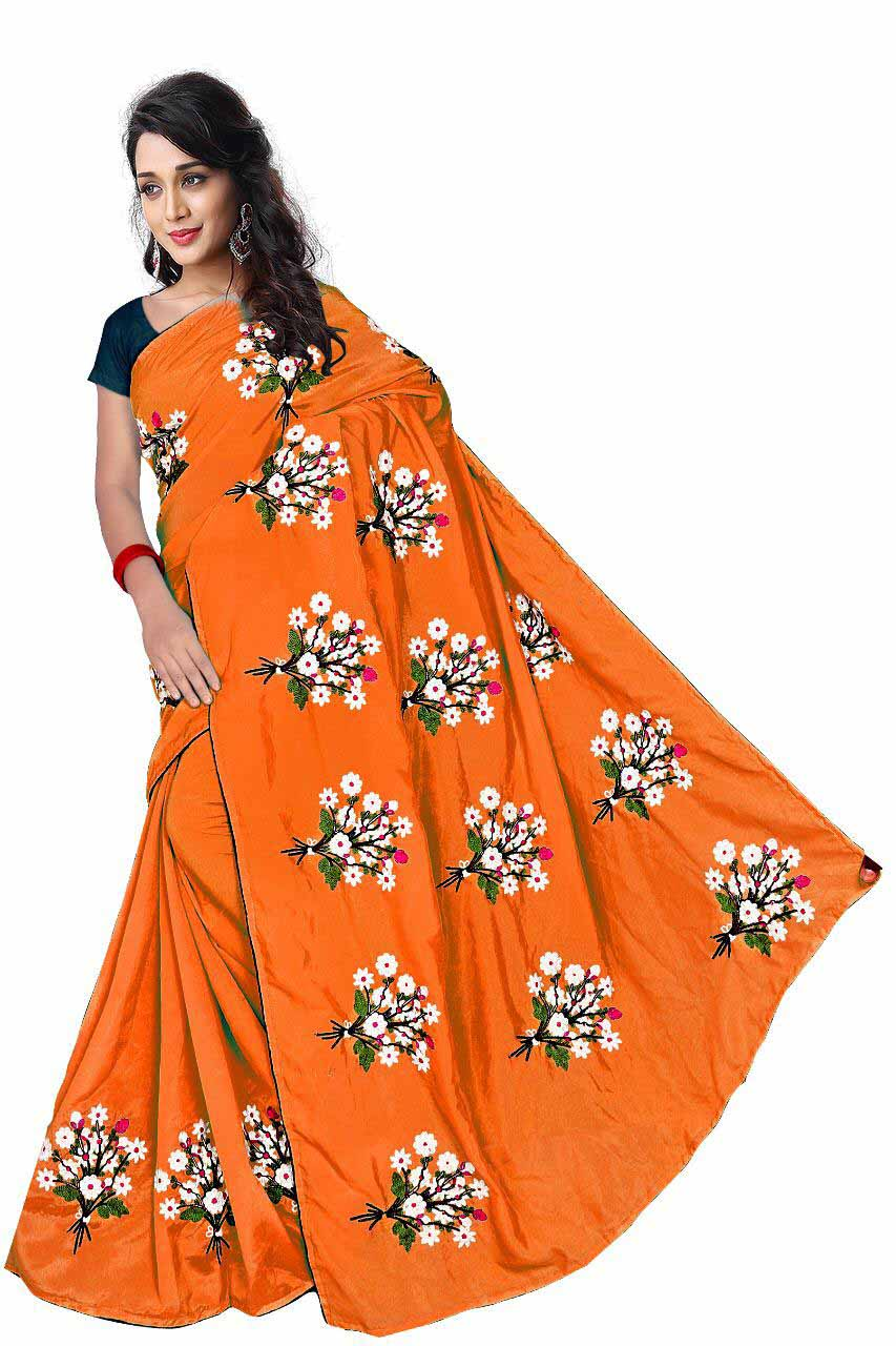 WOMEN SAREE WITH BLOUSE-ORANGE-DF GULDASTA 2019