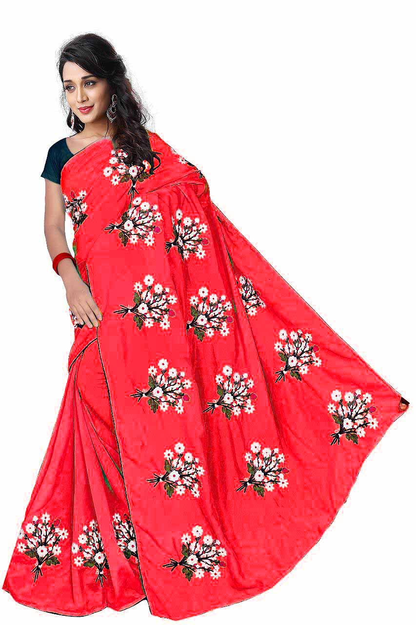 WOMEN SAREE WITH BLOUSE-PEACH-DF GULDASTA 2019